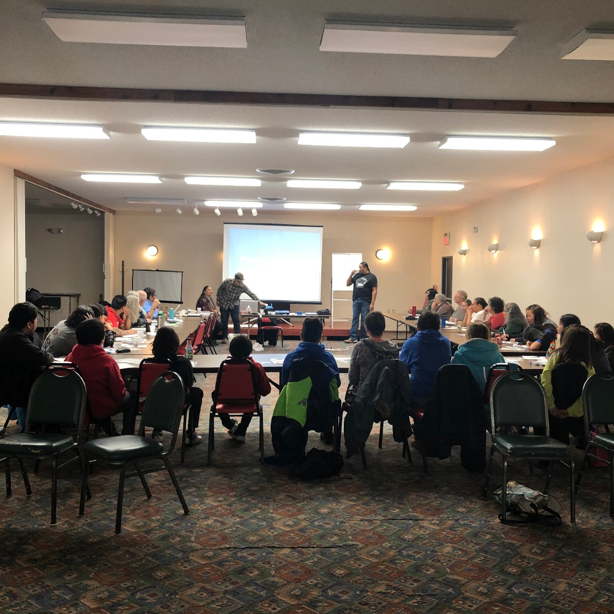 group of people at lakota language convention